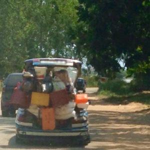 Overloaded Congo taxi