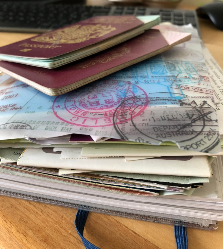 Travel journal and old passports
