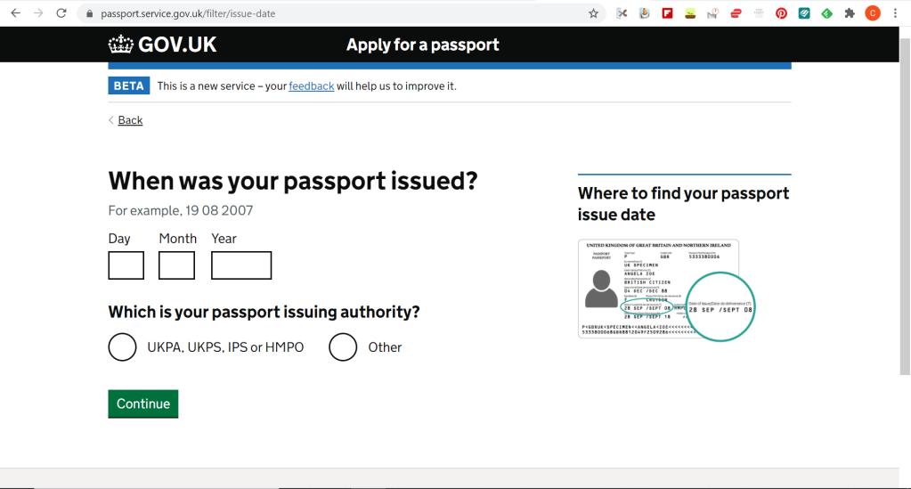 Screenshot from gov.uk website